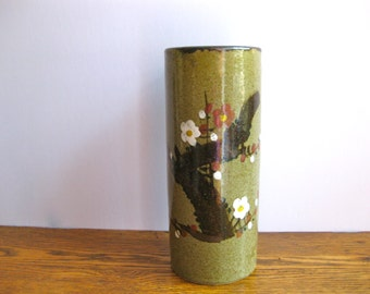 Vintage Tall Green Vase Made in Japan