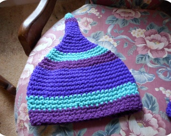 Striped PIXIE Hat. Baby cap Purple Green Jade Plum Stripes-  Size 6 to 12 months Photo Prop Sweet Infant Fairy Fae Hat.