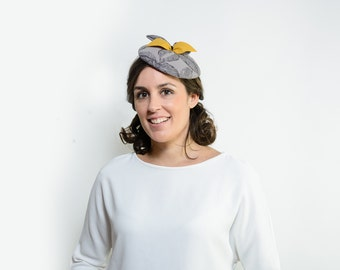 Grey cocktail hat, gray wedding hat, ascot hat, pillbox hat, grey fascinator hat, tea party hat, kentucky derby hat, derby hats women