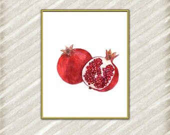 Pomegranate Art Print Printable Pomegranate  Kitchen Art Pomegranate Fruit Print Home Decor Poster Digital Art Print Tropical Print