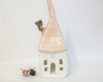 Fairy House -- Luminary, Candle Holder  - Unique Decor -- Handmade on Potters Wheel - White House, Pale Pink  Roof - Ready to Ship