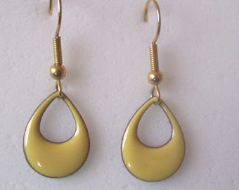Soft Yellow Teardrop hoop dangle earring - enamel on copper