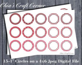 "EDITABLE/INSTANT DOWNLOAD  Bottle Cap Image sheet. 4x6 Jpeg sheet of 15-1"" Circles"