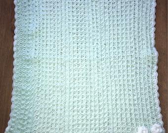 Mint crocheted waffle baby blanket