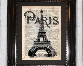 Paris Eifful Tower, Dictionary Art Print, Upcycled Book Art, Silhouette, dictionary page Wall Decor, Wall Hanging, Mixed Media Art