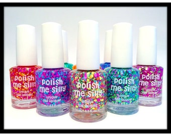 Full Set of 9 Polka Dot Polishes : SPRING COLLECTION  Custom-Blended Indie Glitter Nail Polish / Lacquer Christmas
