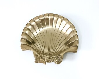 Vintage Brass Seahorse Shell Tray, Vintage Brass Dish