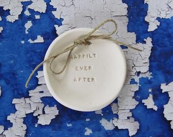 Ring bearer pillow alternative,  Happily ever after Wedding ring bearer Ring dish Ceramic ring holder