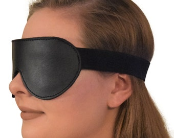 Genuine Leather Padded Blindfold / Eye Mask with Elastic Strap