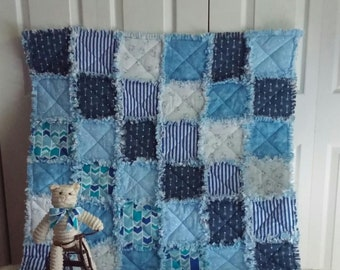 Blue Lullaby ~ Rag Style Crib Quilt
