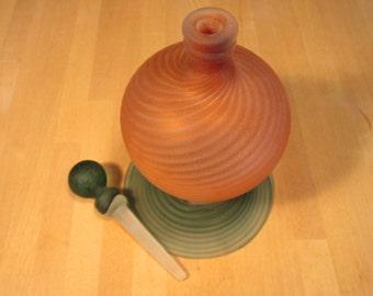 ON SALE! - Deep orange and green vintage perfume bottle