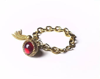SALE - Charm bracelet, tassel bracelet,,Acorn bracelet, gold bracelet, red, brass bracelet, charm bracelet, vintage bracelet,