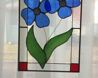 Blue 3D Stained Glass Flower