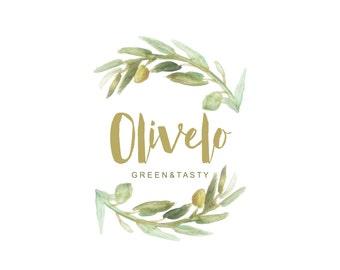 Olive logo design// Green logo design//Wreath logo design//Italian theme// Food blog logo design