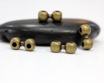 Set of 10 beads double 2-hole Bronze 17x7mm