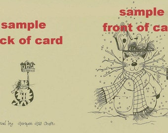 Primitive Frosty Cat Note Cards ~ N9