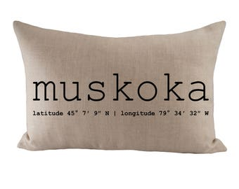 Muskoka or Custom Coordinates - Cushion Cover - 12x18 - Choose your fabric and font colour