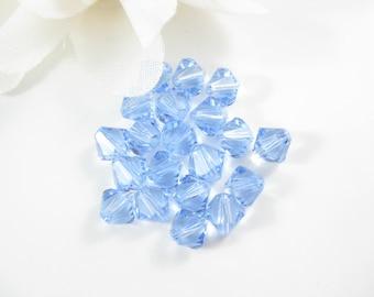 12PC - 6mm Light Sapphire Blue Swarovski Crystal Beads, Jewelry Bead supplies 5301