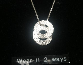 2 Circle Fine Silver Necklace FREE SHIPPING Wear it 2-ways