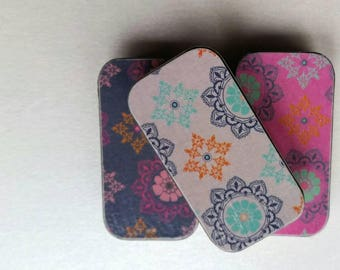 Trio of mini keepers. . . Grey, pink, and purple patterns.