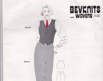 ON SALE 1980's Sewing Pattern - BevKnits No 57 Skirt and Waistcoat Size 10 - 20 Factory folded and complete