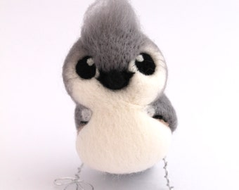 Tufted Titmouse Needle Felted Bird Ornament