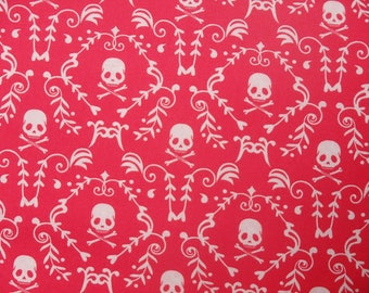 Punk Rock Damask, Skulls, Skull & Crossbones, Pink and White - 100% Cotton, By the Half Yard