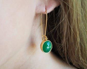 Green jade earrings Jade earrings Jade jewelry Green dangle earrings Green drop earrings Bridesmaid earrings Green bridesmaid earrings gold