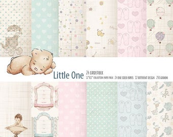 """Little One Paper ScrapbookSweet Baby Paper Pad One-Sided Paper Pad 12""""X12"""" Cardstock Paper Pad"""
