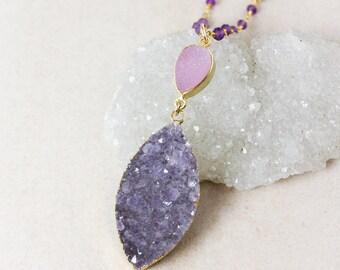 50% OFF SALE - Purple Druzy Necklace – Choose Your Druzy – Purple Amethyst Beaded Chain