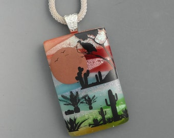 Southwest Scene Dichroic Pendant, Landscape Pendant, Scenic Glass Pendant, Fused Glass Jewelry, Sunset and Desert Glass Pendant