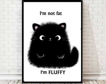 Black cat - pet - art - print