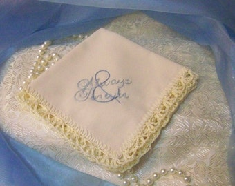 Always and Forever Handkerchief, Hanky, Hankie, Bridal, Something Blue, Hand Crochet, Lace, Personalized, Monogrammed, Embroidered, Cream