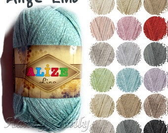 Linen yarn. Alize Lino yarn. Linen / viscose yarn. Natural yarn. Sport weight, pastel colors, natural colors. Color Choice. DSH