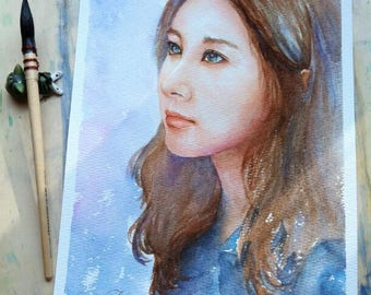 custom portrait, painting, watercolor