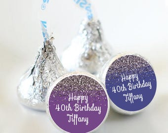 108 Hershey Kiss® Stickers - Kiss Seals - Candy Labels - Birthday Favors - Hershey® Kiss Seals  - Birthday Stickers - Kiss Label - Sparkle