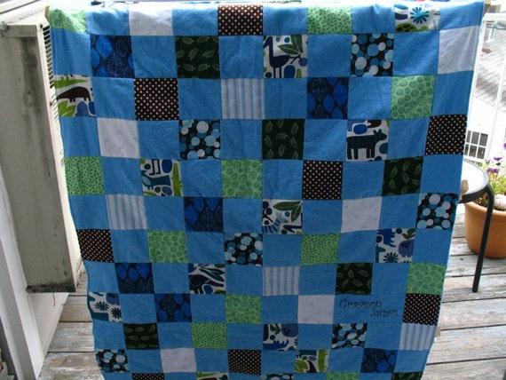 Custom Boy Or Girl Small Block Pattern Baby Quilt Optional
