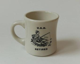Navy Retired Diner Mug Fishing in Boat Vitreous Porcelain