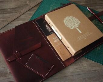iPad Case, cuir cousu main iPad Air portefeuille, Leuchtturm1917 / Moleskine Notebook couvertures, Premium rouge vin en cuir, 3 couleurs de fil