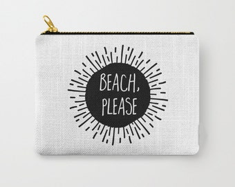 Zipper Pouch - Beach Please Sunburst - Black and White - 3 Sizes Available