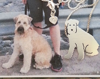 Custom TaGette Necklace Your Pet Pendant .. Sterling Silver Wheaten Terrier Dog silhouette Jewelry Memoralize Keepsake, Gift
