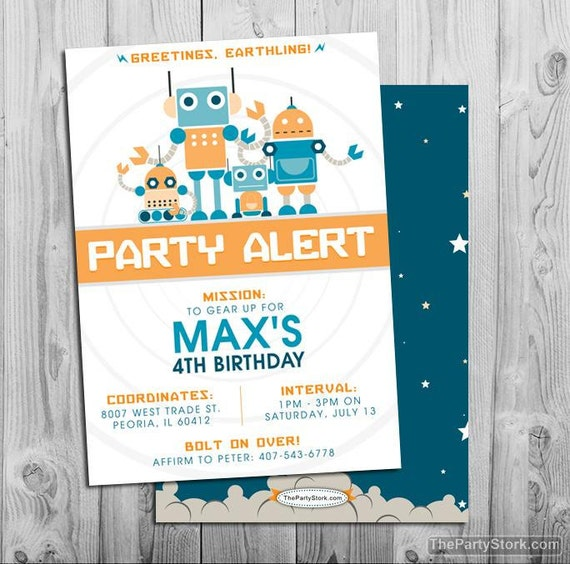 Robot party invitations printable boys robot and rockets like this item filmwisefo Gallery