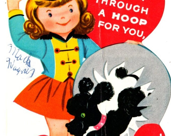 Vintage Girl & Poodle I'd Jump Through A Hoop For You Die-Cut Children's Classroom Valentine's Day Card