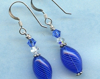 Blue  Blown Glass and Swarovskis  Sterling Silver Earrings