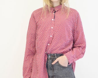 VINTAGE Red Checked Button Downs Retro Shirt