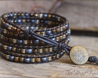 Beaded Wrap Bracelet, Boho Wrap Bracelet, Leather Wrap Bracelet, Wrap Bracelet, 5 Wrap Bracelet, Bohemian Wrap Bracelet, Boho Wrap