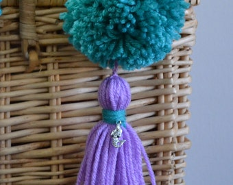 Turquoise and Lavender Pom Pom & Tassel Clip-on with Mermaid Charm -  Keychain, Beach Bag or Backpack Flair Clip