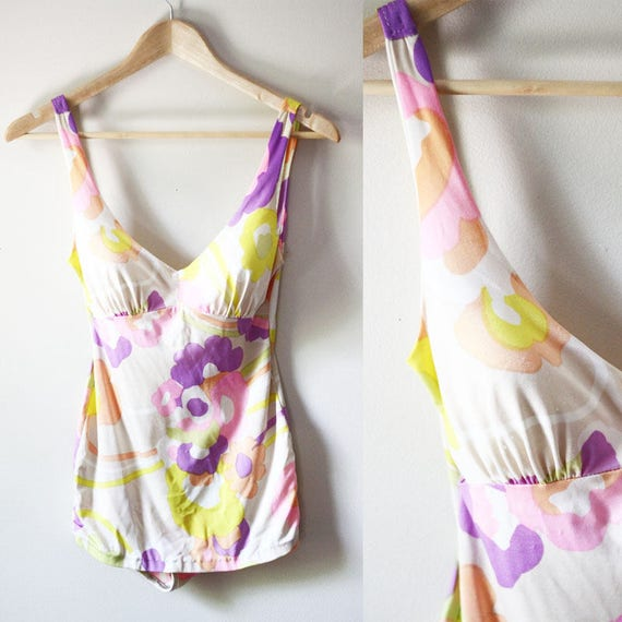 1960s Pink Floral Bathing Suit // Vintage Swimsuit // Pin Up style bathing suit
