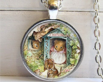 Mouse Pendant, Whimsical Mice Pendant, Cute Mouse Necklace