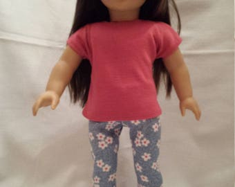 """Pink and Floral outfit for 18"""" dolls"""
